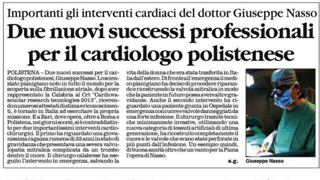 Importanti gli interventi cardiaci del dottor Giuseppe Nasso