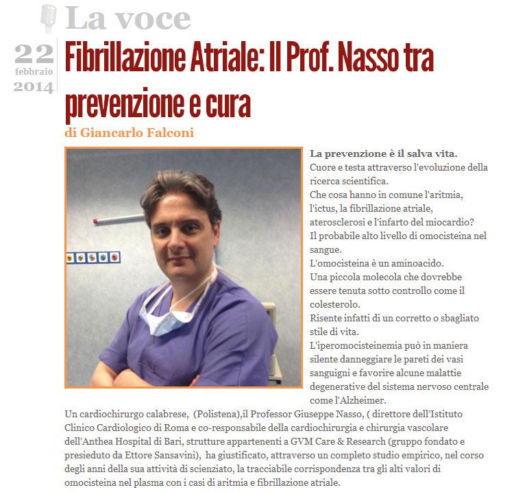 Fibrillazione Atriale: Il Prof. Nasso tra prevenzione e cura
