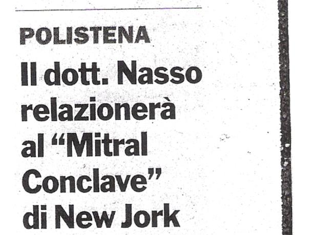 Il Dott. Nasso relazionerà al Mitral Conclave di New York