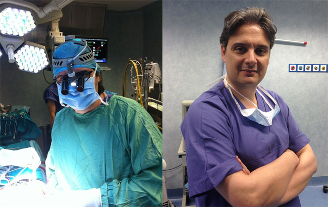 Il Dott. Nasso in sala operatoria.