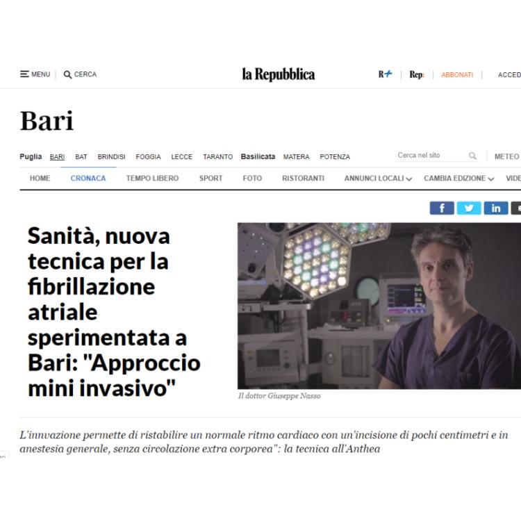 """Sanità, nuova tecnica per la fibrillazione atriale sperimentata a Bari: """"Approccio mini invasivo"""""""